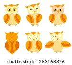 a set of cute cartoon owls with ... | Shutterstock .eps vector #283168826