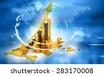 Stock photo  d render of currency symbols with world map financial background 283170008