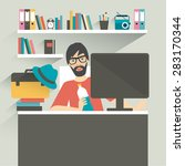 man office workplace. hipster ...   Shutterstock .eps vector #283170344
