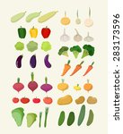 set of fresh vegetables. vector ... | Shutterstock .eps vector #283173596