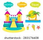 bouncy castle set cartoon... | Shutterstock .eps vector #283176608