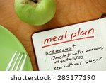 notepad with words  meal plan... | Shutterstock . vector #283177190