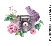 Watercolor Photo Label. Hand...