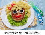 Funny Girl Food Face With...
