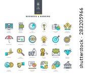 set of line modern color icons... | Shutterstock .eps vector #283205966
