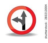 traffic circle shaped left turn ... | Shutterstock . vector #283213004