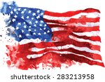 flag of america  hand drawn...