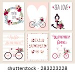 collection of 6 cute hello... | Shutterstock .eps vector #283223228