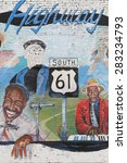 Small photo of LELAND, MISSISSIPPI, May 8, 2015 : Painted wall in honor of old Mississippi Bluesmen. Leland, in the heart of blues country, has produced a number of national and regionally famous blues musicians