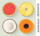set of polygonal fruit halves....   Shutterstock .eps vector #283240478