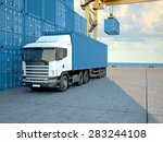 stack of freight containers at