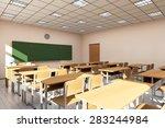 modern classroom 3d interior in ... | Shutterstock . vector #283244984