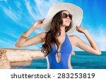 swimsuit  fashion  tan. | Shutterstock . vector #283253819