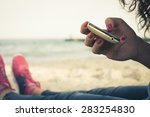 girl resting on the beach and... | Shutterstock . vector #283254830