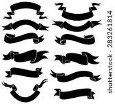 vector set of black ribbons for ... | Shutterstock .eps vector #283261814
