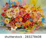 Oil Painting   Colorful Bouque...