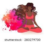 beautiful african american girl ...   Shutterstock .eps vector #283279730