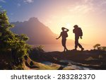 silhouette of a group of people ... | Shutterstock . vector #283282370
