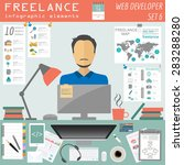 freelance infographic template. ... | Shutterstock .eps vector #283288280
