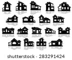 black silhouettes of houses and ... | Shutterstock .eps vector #283291424