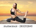 yoga  pose  pigeon. | Shutterstock . vector #283292840