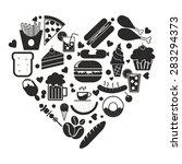 food icon in heart shape vector  | Shutterstock .eps vector #283294373