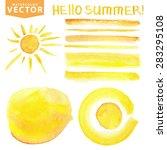 summer watercolor hand painting ... | Shutterstock .eps vector #283295108
