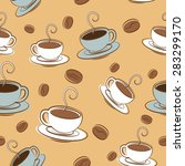 vector pattern coffee time.... | Shutterstock .eps vector #283299170