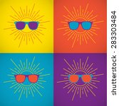 sunglasses on a colored... | Shutterstock .eps vector #283303484