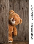 cute teddy bear with old wood... | Shutterstock . vector #283323974