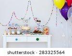 cake  candies  marshmallows ... | Shutterstock . vector #283325564
