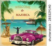 welcome to majorca retro poster. | Shutterstock .eps vector #283329140
