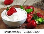 fresh strawberries with cream ... | Shutterstock . vector #283330520