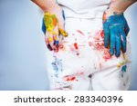 kids backside painted in bright ... | Shutterstock . vector #283340396