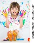 portrait of a cute cheerful... | Shutterstock . vector #283350239