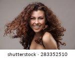 studio shot of smiling woman... | Shutterstock . vector #283352510