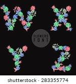 vector colorful flower font.... | Shutterstock .eps vector #283355774