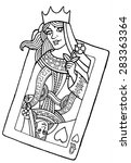 alive playing card of the queen ... | Shutterstock .eps vector #283363364