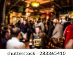 Stock photo crowded irish pub blur 283365410