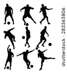 different poses of soccer... | Shutterstock .eps vector #283365806
