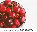 fresh cherries in water in a... | Shutterstock . vector #283376174