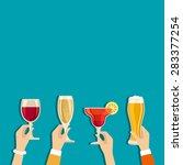 cheers hands vector poster with ... | Shutterstock .eps vector #283377254