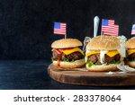 ground beef mini burgers on... | Shutterstock . vector #283378064