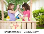 Two young girls giving a hive five while looking in their lemonade stand money bucket. - stock photo