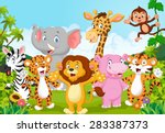 cartoon happy little animal  | Shutterstock .eps vector #283387373