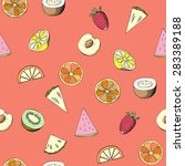 seamless pattern with fruit.... | Shutterstock .eps vector #283389188