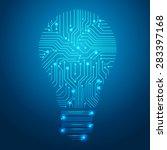 bulbs design over blue... | Shutterstock .eps vector #283397168