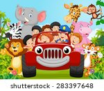 Stock vector cartoon little kid happy with animal vector illustration 283397648