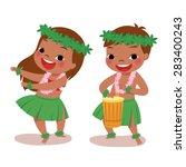 illustration of hawaiian boy... | Shutterstock .eps vector #283400243