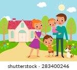illustration of happy family in ...   Shutterstock .eps vector #283400246